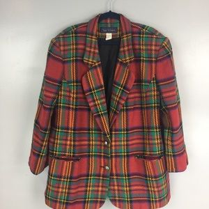 Vintage plaid wool blend blazer